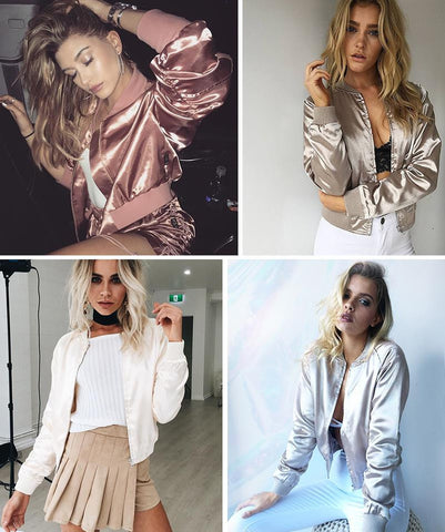 Satin Cotton Bomber Pilot Jacket Coat - CELEBRITYSTYLEFASHION.COM.AU - 1