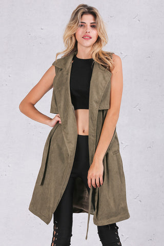 Army Green Suede Trench Coat Vest Waistcoat Jacket - CELEBRITYSTYLEFASHION.COM.AU - 6