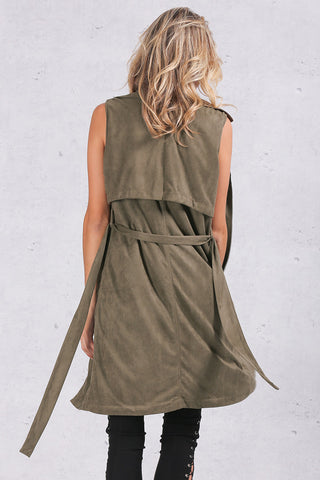 Army Green Suede Trench Coat Vest Waistcoat Jacket - CELEBRITYSTYLEFASHION.COM.AU - 8