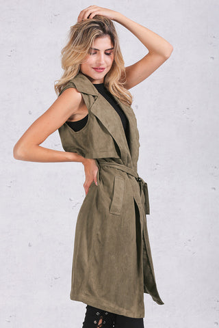 Army Green Suede Trench Coat Vest Waistcoat Jacket - CELEBRITYSTYLEFASHION.COM.AU - 4