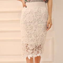 Women Lace Skirt A-Line Hollow Out White Black SKirt Knee Length Plus SIze S-3XL - CelebritystyleFashion.com.au online clothing shop australia
