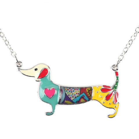 Bonsny Statement Metal Alloy Enamel Dachshund Dog Choker Necklace Chain Collar Pendant Fashion New Jewelry For Women - CelebritystyleFashion.com.au online clothing shop australia