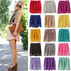 Summer Chiffon Women Skirt Tulle Girls Above Knee Short Nude Mini Casual Skirts NO BELT LY1201ANu - CelebritystyleFashion.com.au online clothing shop australia