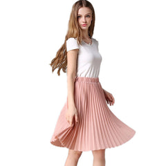 Pleated Skirt Autumn/Winter European Style Elegant Tulle Pleated Skirt Blue Chiffon Skirt Women's Vintage Pink Midi Skirt - CelebritystyleFashion.com.au online clothing shop australia