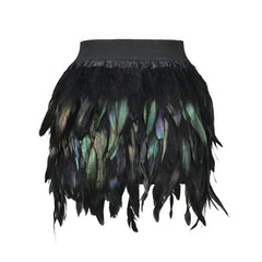 Women Feather Mini Skirt Elastic Waist High Street One Size Fits For XS-L - CelebritystyleFashion.com.au online clothing shop australia