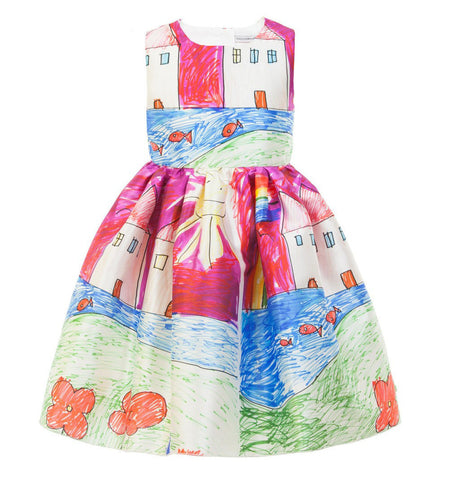Girl Dress Brand Princess Dress Girl Designer Character Painting Kids Dresses for Girls Clothes - CelebritystyleFashion.com.au online clothing shop australia