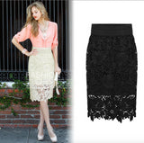 High Quality New Women Lace Skirt A-Line Hollow Out White Black SKirt Knee Length Plus SIze S-3XL Free Shipping - CelebritystyleFashion.com.au online clothing shop australia