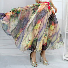 Peacock Feather Faux Silk Elastic Waist Big Bottom Printed Bohemia Skirt Women Full Long Chiffon Skirt - CelebritystyleFashion.com.au online clothing shop australia