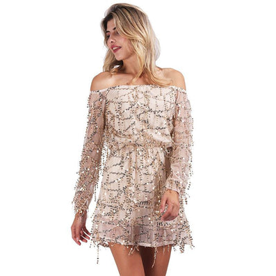 Sexy off shoulder sequin tassel summer dress beach party short dress Women backless vintage dress - CelebritystyleFashion.com.au online clothing shop australia