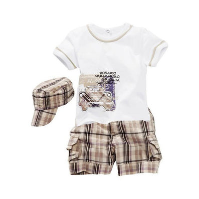 Baby Boys Infants Suit T-shirt +Plaid Shorts Pants+Hat Clothes Outfits 3pcs SM67 - CelebritystyleFashion.com.au online clothing shop australia