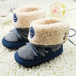 Newborn Baby Boy Prewalker Soft Snow Boots Faux Fur Lace Boots Snow Crib Shoe 0-18M S01 - CelebritystyleFashion.com.au online clothing shop australia