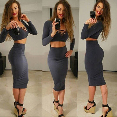 2 Piece High Waisted Party Dress Deep V-neck Kardashian Kylie Jenner Style -  - 2