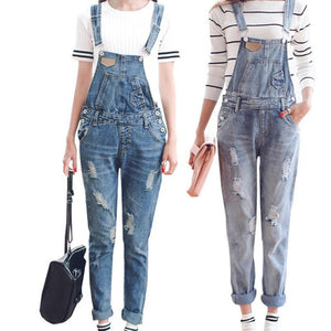 Womens Jumpsuit Denim Overalls Spring Autumn Casual Ripped Hole Loose Pants Ripped Pockets Jeans Coverall XL 2XL WT00194 - CelebritystyleFashion.com.au online clothing shop australia