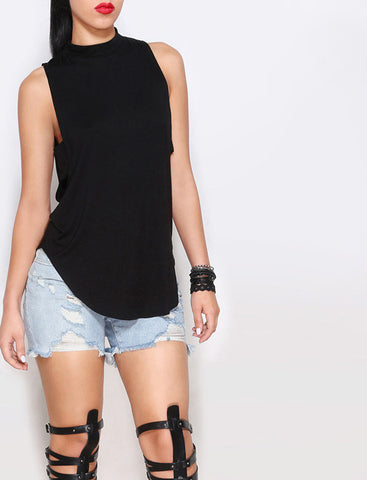 Cropped Solid Cutout Back Asymmetric Tank Top -  - 1