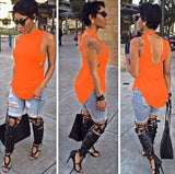 Cropped Solid Cutout Back Asymmetric Tank Top -  - 7