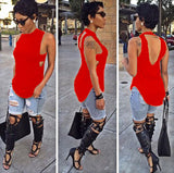 Cropped Solid Cutout Back Asymmetric Tank Top -  - 9