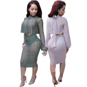 Two Piece Full Sleeve Mesh Party Dress -  - 1