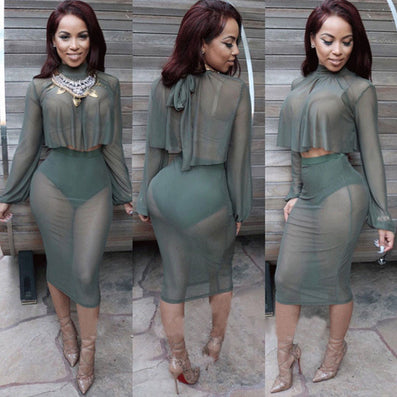 Two Piece Full Sleeve Mesh Party Dress -  - 2