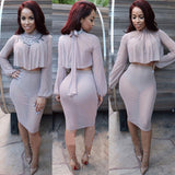Two Piece Full Sleeve Mesh Party Dress -  - 3
