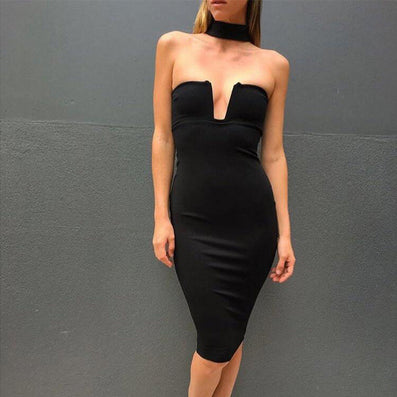Strapless Black Party Backless Bandage Dress -  - 2