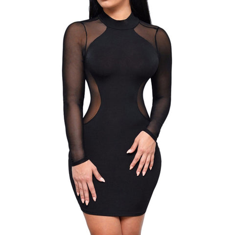 Night Club Long Sleeve Geometric Patchwork Mesh Party Dress - CELEBRITYSTYLEFASHION.COM.AU - 1