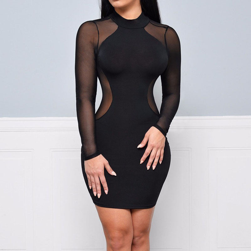 Night Club Long Sleeve Geometric Patchwork Mesh Party Dress - CELEBRITYSTYLEFASHION.COM.AU - 2