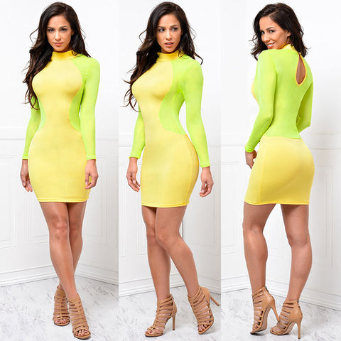 Night Club Long Sleeve Geometric Patchwork Mesh Party Dress - CELEBRITYSTYLEFASHION.COM.AU - 3