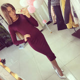 Cotton Long Sleeve Knee Length Midi Dress Slim Bodycon Bandage Autumn Black Wine Red Women Dresses Bandage Q0001 - CelebritystyleFashion.com.au online clothing shop australia