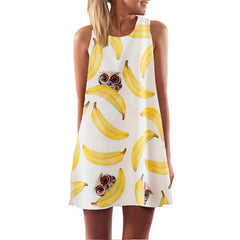 European Style Chiffon Dress Summer Casual Loose O-Neck Sleeveless Print Beach Dresses Plus Size Women Clothing WAIBO BEAR - CelebritystyleFashion.com.au online clothing shop australia