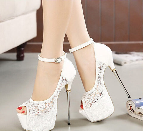 women summer sandals lace pumps women party shoes platform pumps white wedding shoes stiletto heels open toe dress shoes D114 - CelebritystyleFashion.com.au online clothing shop australia