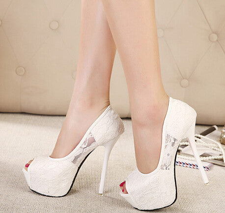 Women Pumps Fashion Lace Peep Toe High Heels Ladies Wedding Shoes Platform White Party Shoes Female Sapatos Femininos - CelebritystyleFashion.com.au online clothing shop australia