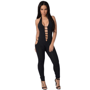 Overalls Black Halter Straps Backless Cut Out Jumpsuit Deep Plunge Playsuit - CELEBRITYSTYLEFASHION.COM.AU