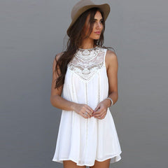 Fashion Tassel Solid White Mini Lace Dress Summer Dress Sexy Women Casual Sleeveless Beach Short Dress Vestidos Plus Size - CelebritystyleFashion.com.au online clothing shop australia