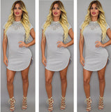 Short Sleeve Casual Tee T Shirt Mini Party Dress -  - 8