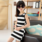 Children Girls' Clothing Black And White Stripes Summer Girl Dress 100% Cotton 3-14 Years Kids Vest Dresses For Teenage Girls - CelebritystyleFashion.com.au online clothing shop australia