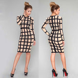 Mesh Sheer Zip Black White Knee Length Bandage Dress -  - 2