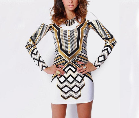 Geometric Sexy Print Backless Long Sleeve Party Dress -