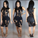 Sheer Mesh Patchwork Pencil Dress -  - 2