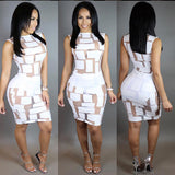 Sheer Mesh Patchwork Pencil Dress -  - 3