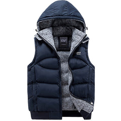 New Mens Jacket Sleeveless veste homme Winter Fashion Casual Coats Male Hooded Cotton-Padded Men's Vest men Thickening Waistcoat - CelebritystyleFashion.com.au online clothing shop australia