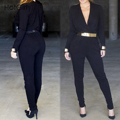 Black Cross Skinny Playsuit Club Wear Jumpsuit - CELEBRITYSTYLEFASHION.COM.AU - 1