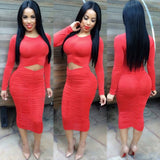 Long Sleeve Waist Pleated Party Dress Kim Kardashian Kylie Jenner Style -  - 1