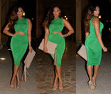 Long Sleeve Waist Pleated Party Dress Kim Kardashian Kylie Jenner Style -  - 7