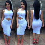 Long Sleeve Waist Pleated Party Dress Kim Kardashian Kylie Jenner Style -  - 3