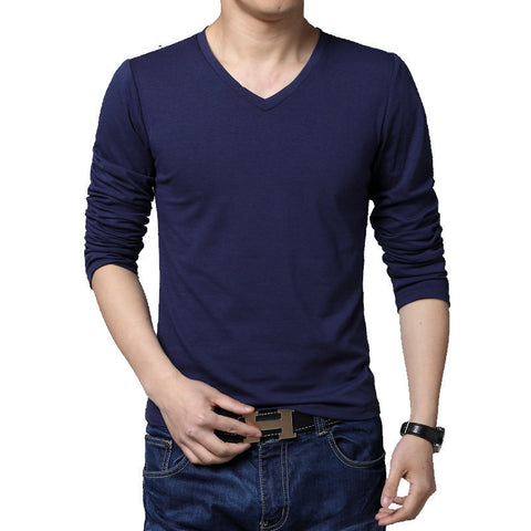 Men's fashion Spring and Autumn Slim-type long-sleeved T-shirt Pure cotton casual V-neck men's large size X-5XL shipping - CelebritystyleFashion.com.au online clothing shop australia