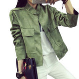 Retro Suede Casual Jacket Women All-Match Military Green Cardigan Coat 6 Colors - CelebritystyleFashion.com.au online clothing shop australia