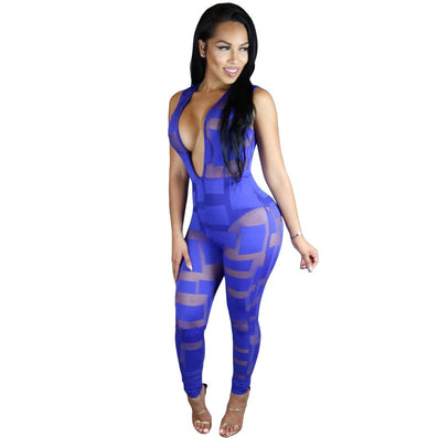 Skinny Jumpsuit Patchwork Mesh Club Jumpsuit -  - 2