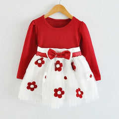 Infant Baby Girls Long Sleeve Flower Lace Tutu Dresses Kids Cute 1 Year Birthday Wedding Party Dress Z1 - CelebritystyleFashion.com.au online clothing shop australia