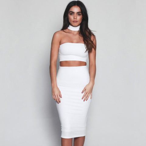 Two Piece Outfit High Waist Elastic Midi Dress Backless -  - 1