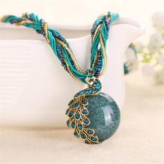 2016 new peacock decoration rough necklace short clavicle female chain turquoise stone pendant necklace style summer jewelry - CelebritystyleFashion.com.au online clothing shop australia